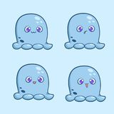 A set of little cute monsters with different emotions. Vector illustration for stickers or banners Royalty Free Stock Images