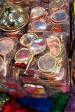 Set of Little decorative hand mirror in the view. Set of little decorative hand mirror on a shelf Royalty Free Stock Image