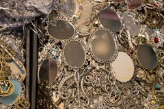 Set of Little decorative hand mirror in the view. Set of little decorative hand mirror on a shelf Stock Photos