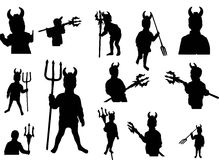 Set of little devil with trident (silhouette). Royalty Free Stock Photos