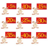 Set of little funny Rabbits  with discount boards Royalty Free Stock Image