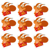 Set of little funny Squirrels with discount boards Royalty Free Stock Photo