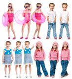 Set of a little girl photos Stock Images