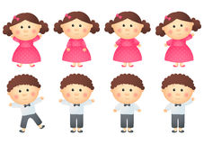Set of little girls and boys Royalty Free Stock Image