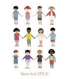 Set of little kids isolated. Holding hands Stock Image