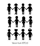 Set of little kids shilhouettes. Set of little kids isolated holding hands Royalty Free Stock Photos