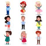 Set of little kids wearing different fashion clothes. Cartoon boys and girls characters standing isolated on white. Flat. Set of little kids wearing different Royalty Free Stock Photo