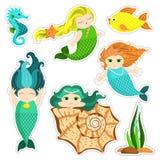 Set Little Mermaid Royalty Free Stock Photos