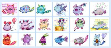 Set of little monsters. And animals, mouses, fishes, cats and other Royalty Free Stock Photo