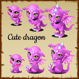 Set of little pink dragon on a parchment Stock Image