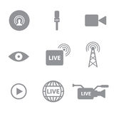 Set of Self broadcasting or live streaming icons  Royalty Free Stock Images