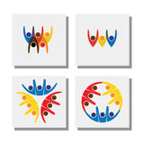 Set of lively happy excited people friends logo - vector icons. This also represents  concepts of friendship, partnership cooperation, unity, excitement Royalty Free Stock Images