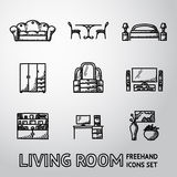 Set of Living Room freehand icons - sofa, dining Stock Photos