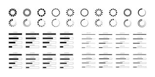 Set loading bar progress icons isolated on white background. Set loading bar progress icons isolated, load sign vector flat illustration. template icon for royalty free illustration