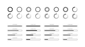 Set loading bar progress icons isolated on white background. Set loading bar progress icons web buttons, vector interface sliders isolated, load sign vector flat stock illustration