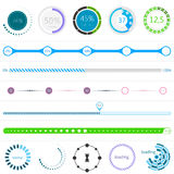 Set of Loading Bars and Preloaders. On white isolated background Royalty Free Stock Photos