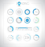 Set of Loading design elements. A lot of different styles with space for percentage royalty free illustration