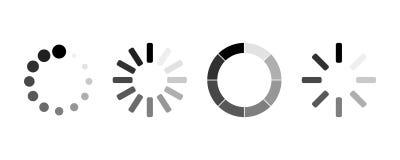 Set of loading icons. load. load bar icons. 4 loading icons royalty free illustration