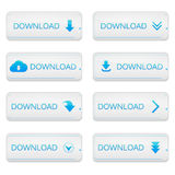 Set of Loading, Streaming, Buffering, Play, Go. Set of buttons download on white isolated background Stock Photos