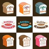 Set of loaf bread bakery badge label sticker design in vector Royalty Free Stock Photo