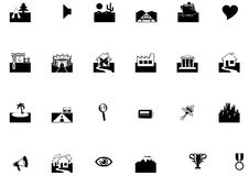 Set of location icons. A set of icons for specific places Stock Illustration