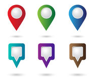 Set of location icons. Map Pointers. Round and square shape Stock Image