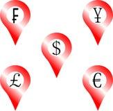 Set of location money symbol. Navigation euro pound yen frank dollar. Vector graphic illustration Stock Photography