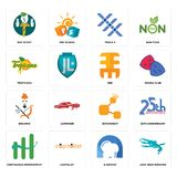 Set of loch ness monster, d dentist, continuous improvement, bitconnect, brahmin, eee, tropicana, triple x, boy scout icons. Set Of 16 simple  icons such as loch Stock Image