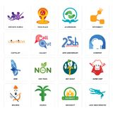 Set of loch ness monster, university, brahmin, boy scout, bird, 25th anniversary, capitalist, acupressure, gym with purple icons. Set Of 16 simple  icons such as Royalty Free Stock Photos