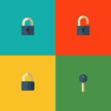 Set of lock icons. Set of vector icons with closed and opened padlocks, key and code lock Royalty Free Stock Photos