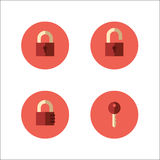 Set of lock icons. Set of vector icons with closed and opened padlocks, key and code lock Royalty Free Stock Image