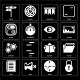Set of Locked, Clock, Note, Reading, Settings, View, Switch, Boo. Set Of 16 icons such as Locked, Clock, Mute, Note, Folder, Street, Switch, Settings, View, web Vector Illustration
