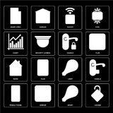 Set of Locked, Smart, Mobile phone, Light, Home, Handle, Chart,. Set Of 16 icons such as Locked, Smart, Dimmer, Mobile phone, Handle, Smart home, Chart, Home Stock Illustration