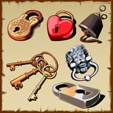 Set of locks, keys and bell, as design elements Stock Image