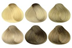 Set of locks of six different blonde hair color samples & x28;bleaching cream, very light blonde, light blonde, beige blonde, dark. Blonde and natural blonde& stock photos