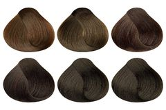 Set of locks of six different brown hair color samples & x28;caramel, golden coffee, auburn, dark auburn, natural brown and dark. Chocolate& x29;, rounded shape stock photography