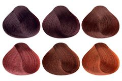 Set of locks of six different red hair color samples & x28;burgund, dark morello, red coral, garnet, copper red, copper. Shine& x29;, rounded shape, isolated on stock photography
