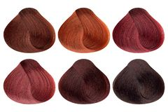 Set of locks of six different red hair color samples & x28;copper, copper shine, ruby red, garnet, mahogany coral and dark. Mahogany& x29;, rounded shape royalty free stock image