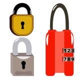 Set of 3 locks. A set of three locks on white background Stock Photography