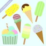 Set lodów popsicles i rożki Zdjęcia Stock