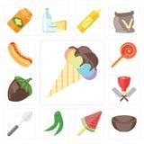 Set lody, puchar, grochy, łyżka, masarka, Hazelnut, Jawbreak royalty ilustracja
