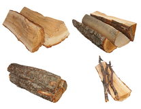 Set log fire wood isolated on white background. With clipping path Royalty Free Stock Image
