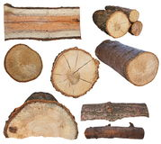 Set log fire wood isolated on white background Royalty Free Stock Photos
