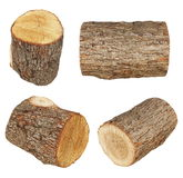 Set log fire wood  isolated on white background. With, oak and beech, clipping path, (high resolution Stock Photos