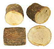 Set log fire wood isolated on white, with clipping path Stock Photo