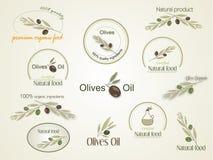 Set Logan organic food olives, vector Stock Photography