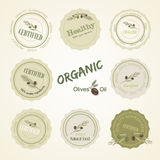Set Logan organic food olives, vector Royalty Free Stock Images