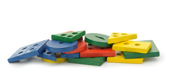 Set of logic wooden toys Stock Photo
