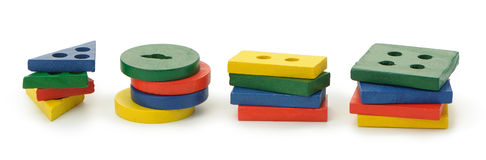 Set of logic wooden toys Stock Image