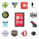 Set of login screen, honey badger, spartan, free owl, generic, service dog, water filter, established, khanda icons. Set Of 13 simple editable icons such as Royalty Free Stock Image